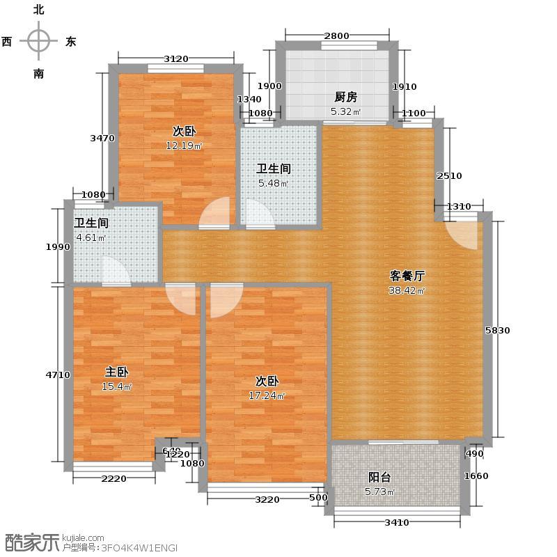 华城格之林花园115.00㎡户型3室1厅2卫1厨