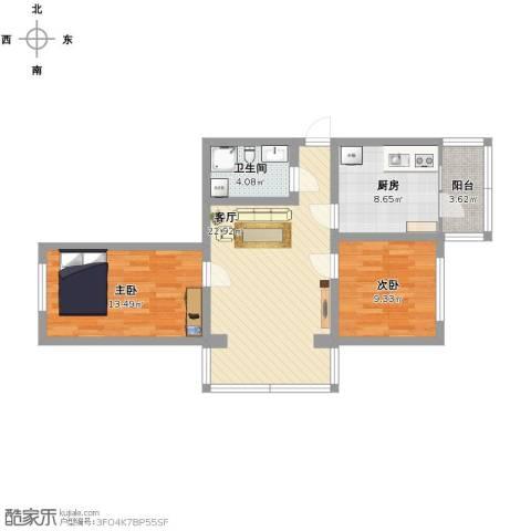 白毛小区11~22号2室1厅1卫1厨90.00㎡户型图