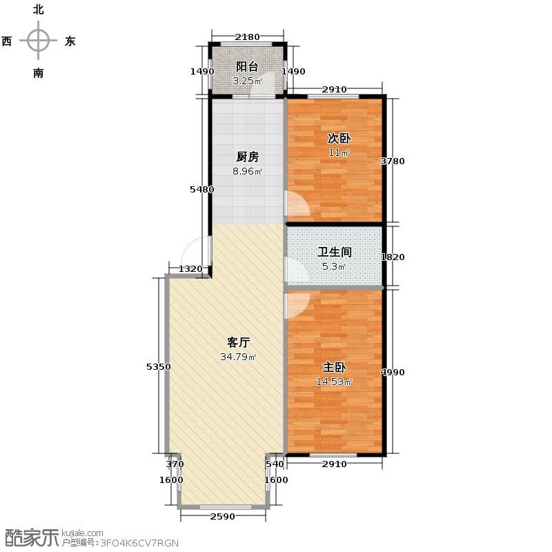 海富漫香林56.94㎡多层户型2室1厅1卫