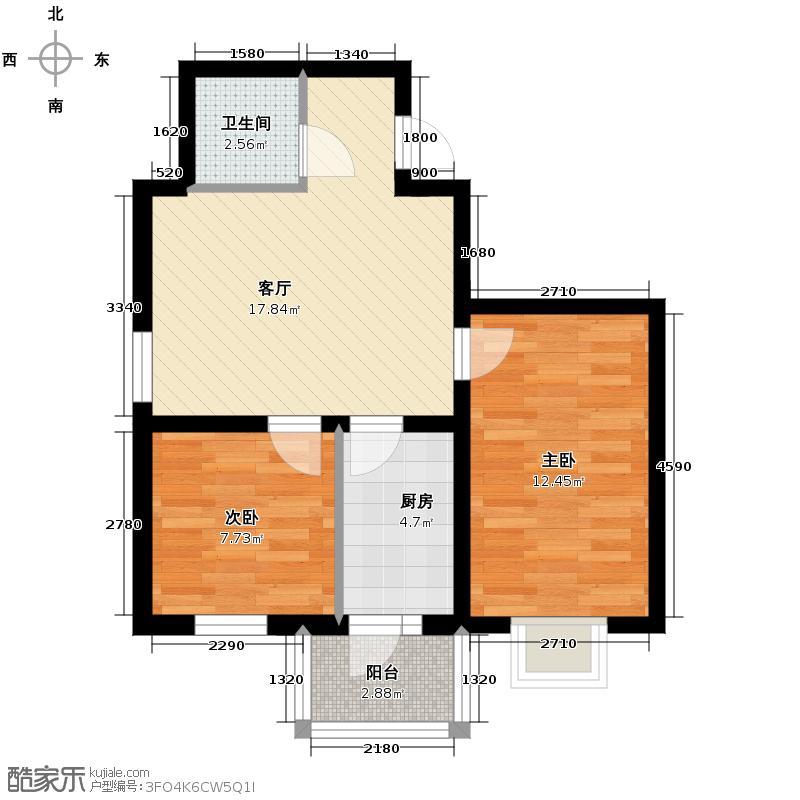 泰山领秀46.36㎡户型2室1厅1卫1厨