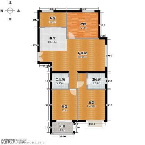 银丰花园3室0厅2卫1厨136.00㎡户型图