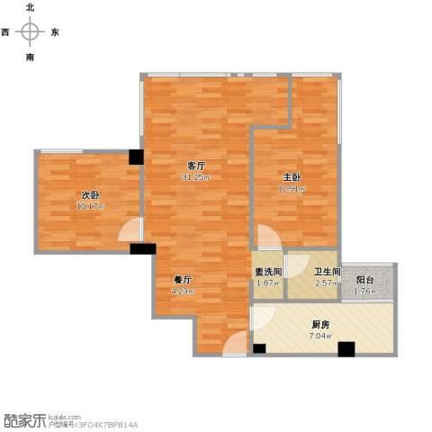 神仙树缤纷2室1厅1卫1厨89.00㎡户型图