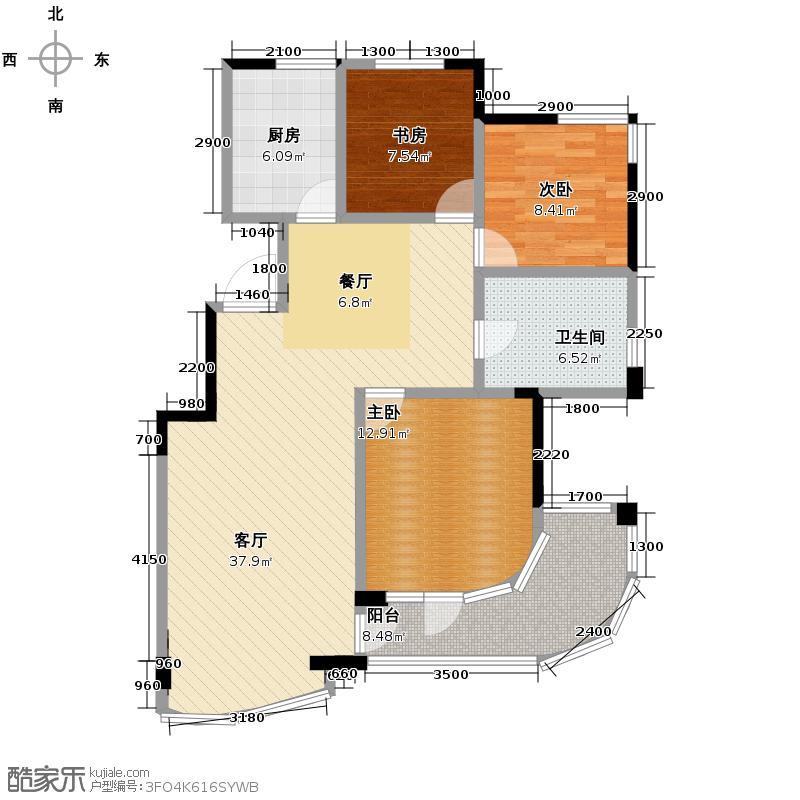 绿城丽江公寓98.73㎡户型3室1厅1卫1厨