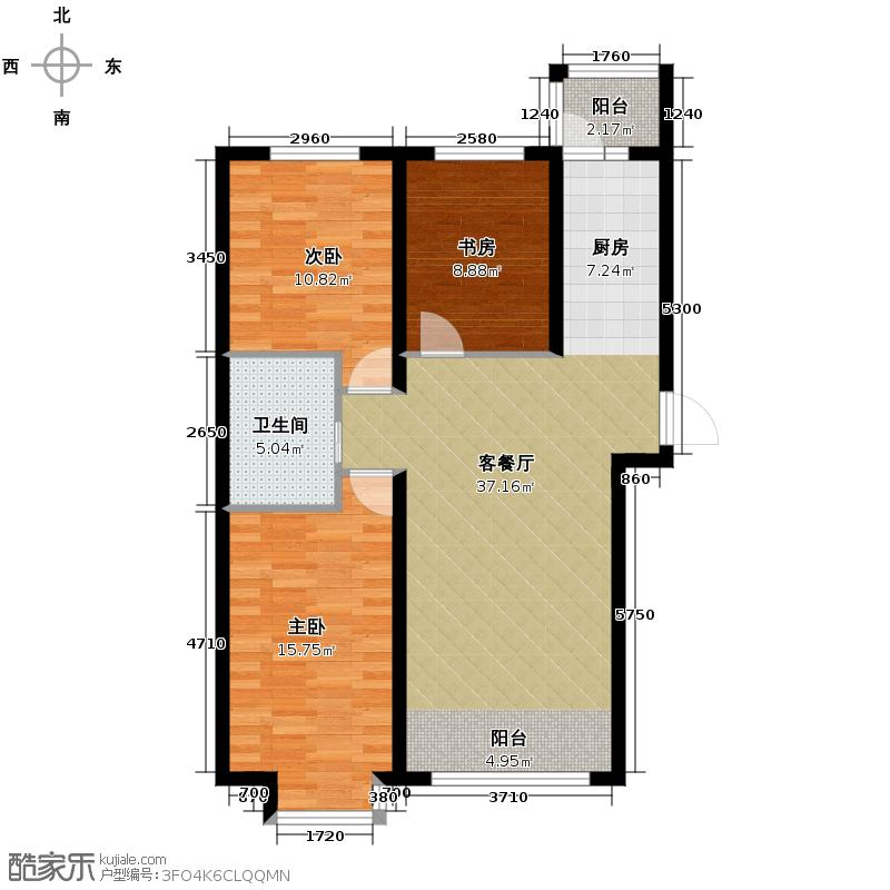 远大中央公园89.86㎡7#使用面积7317+户型3室2厅1卫