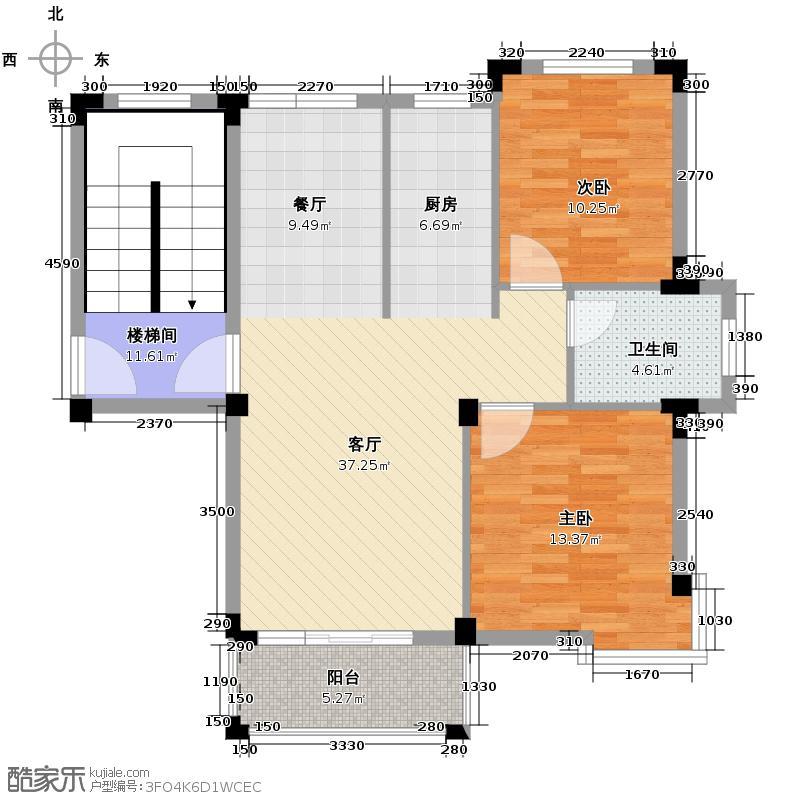 皇马花园85.31㎡多层E7户型2室1厅1卫