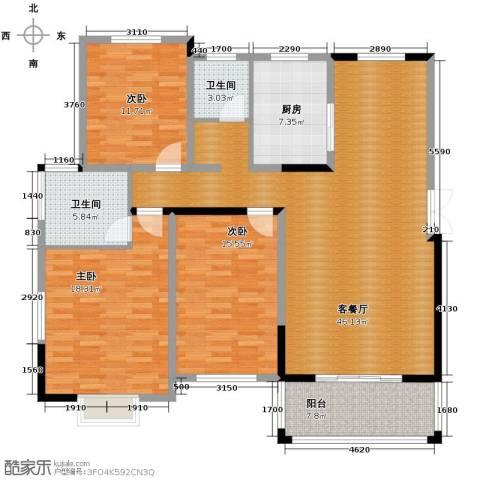 博雅湘水湾3室1厅2卫1厨137.00㎡户型图