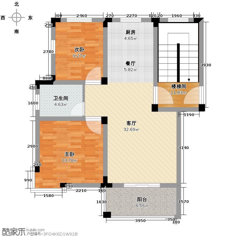 皇马花园79.80㎡多层E6户型2室1厅1卫