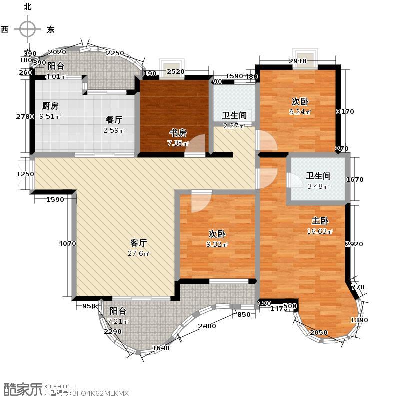 天阳美林湾132.67㎡户型4室1厅2卫1厨
