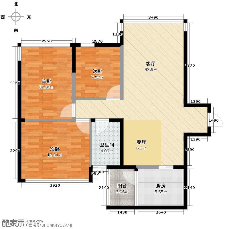 中建新华府89.03㎡户型3室1厅1卫1厨