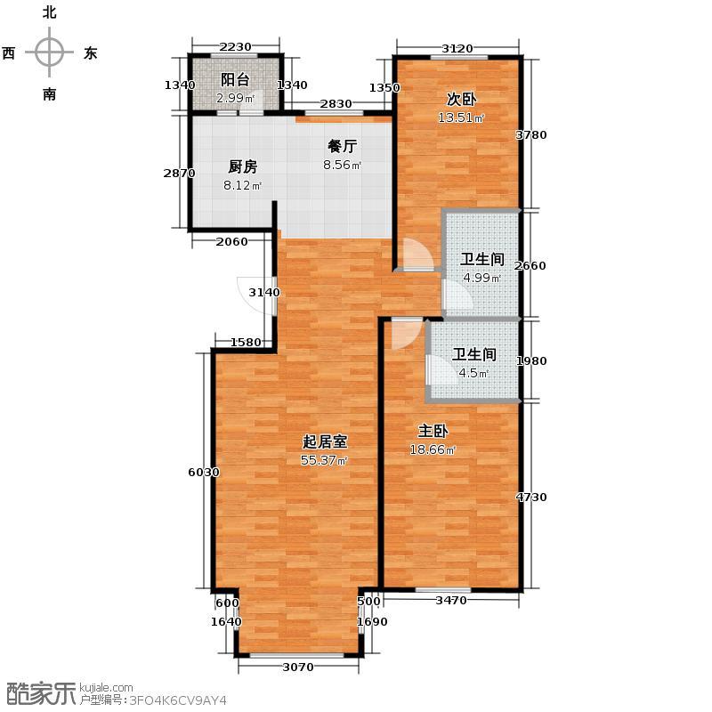 海富漫香林85.42㎡高层户型2室2厅2卫