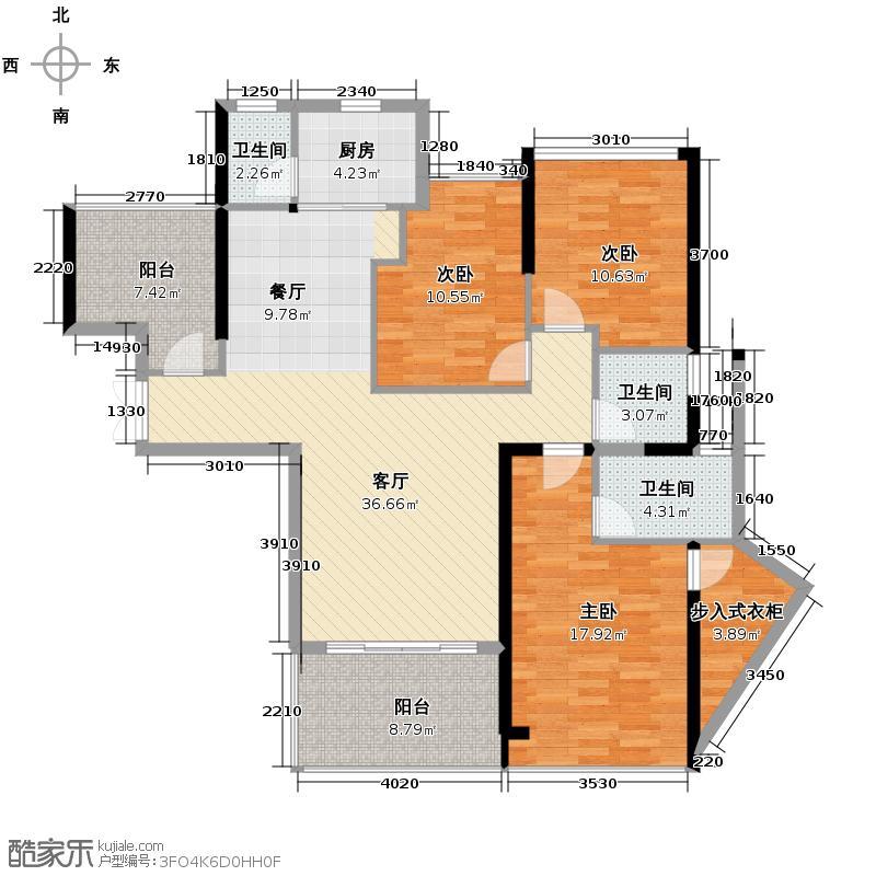 新大陆壹号136.00㎡10#06单元户型3室2厅2卫