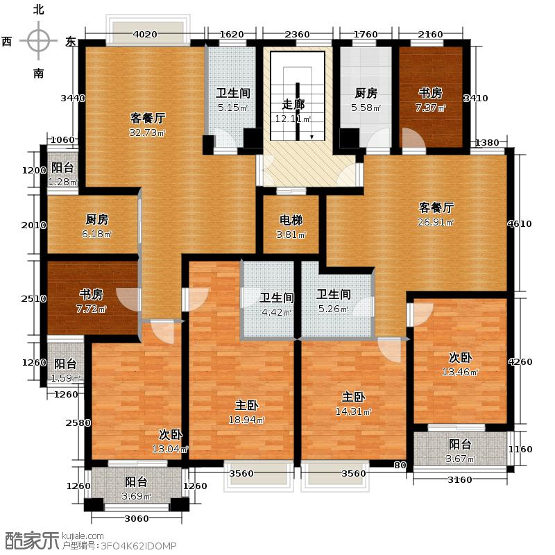 广景苑215.84㎡户型6室2厅3卫2厨