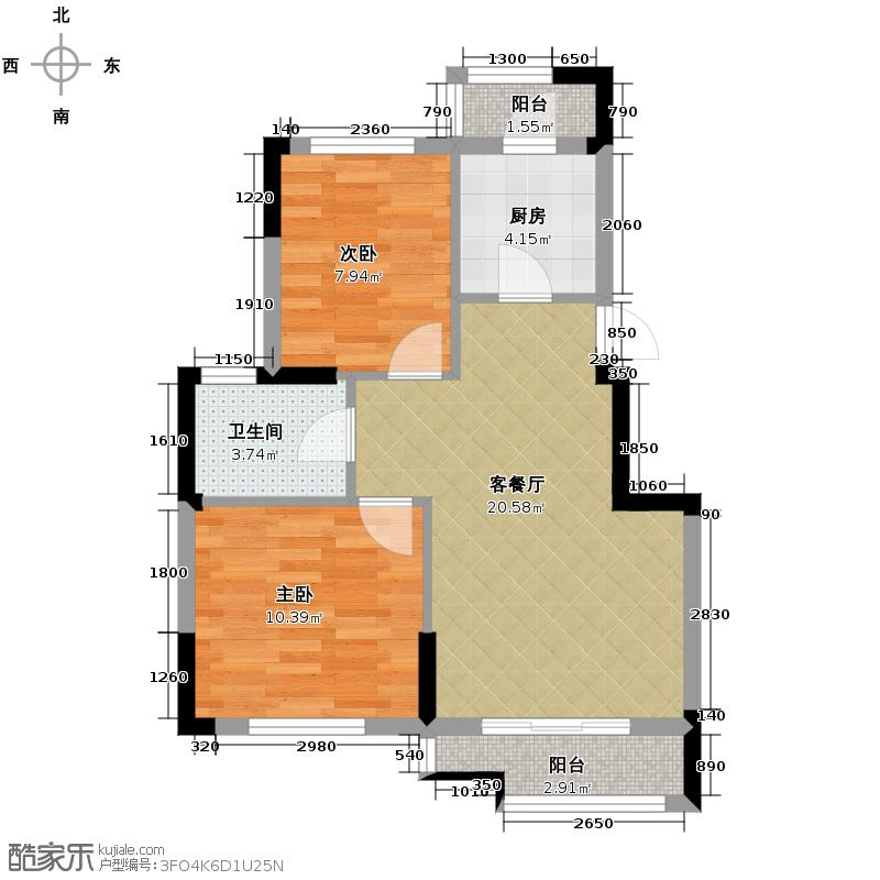皇马花园88.54㎡G19户型2室1厅1卫1厨