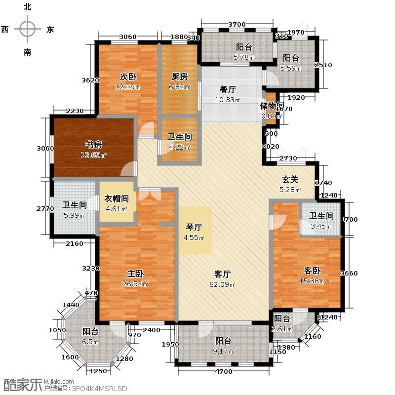 群力玫瑰湾152.16㎡G08户型4室1厅3卫1厨