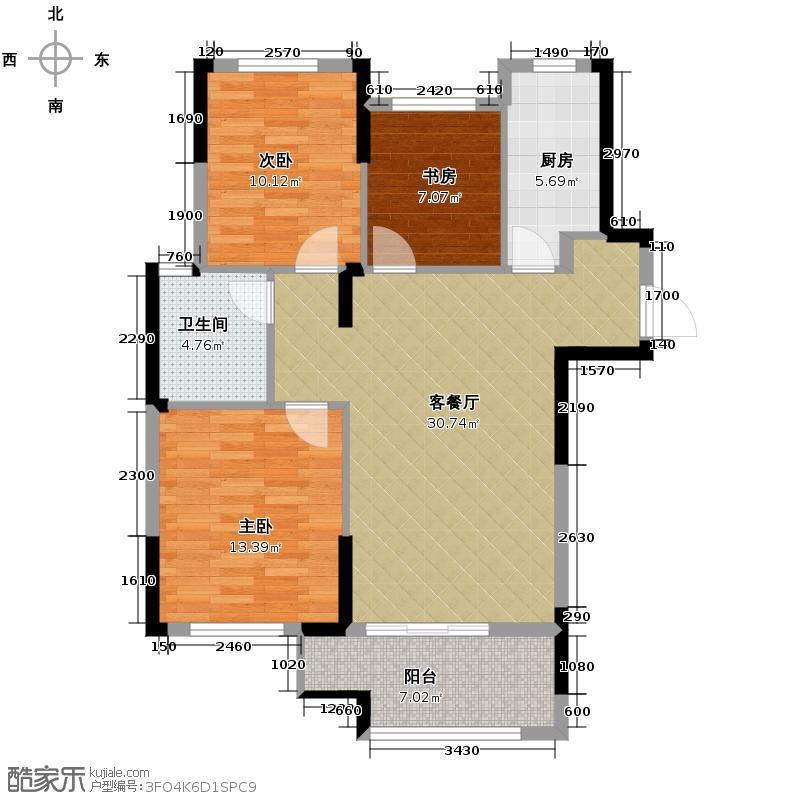 皇马花园100.91㎡G17户型3室1厅1卫1厨
