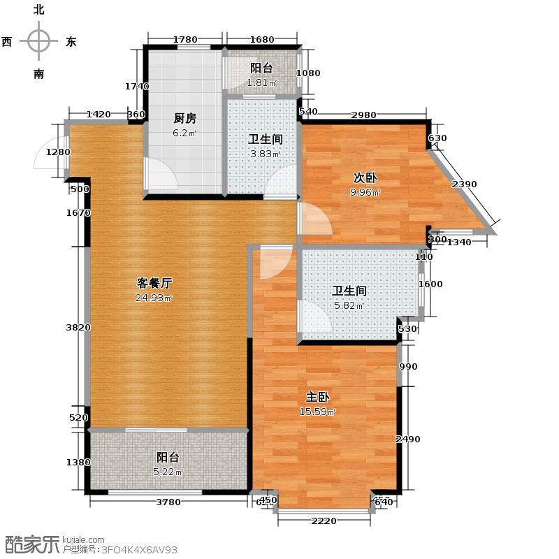 桐梓林欧城85.00㎡十栋E型标准层户型2室1厅2卫1厨