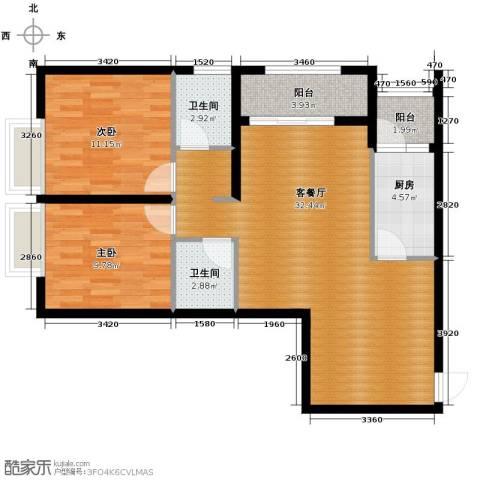 万象上东2室2厅1卫0厨99.00㎡户型图
