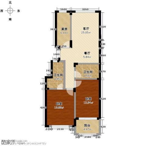 紫园1厅2卫1厨88.00㎡户型图