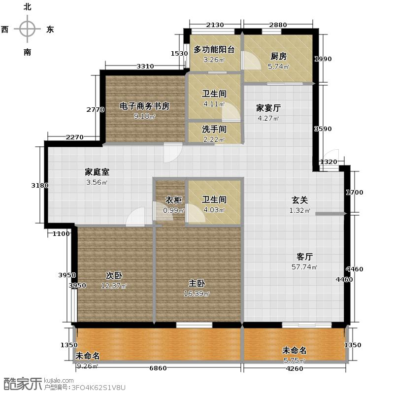 晨光绿苑143.00㎡户型2室1厅2卫1厨