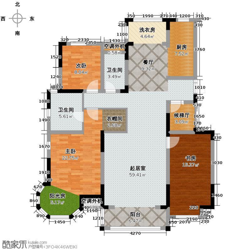 汇锦城171.13㎡国际城四期D-5户型3室2卫