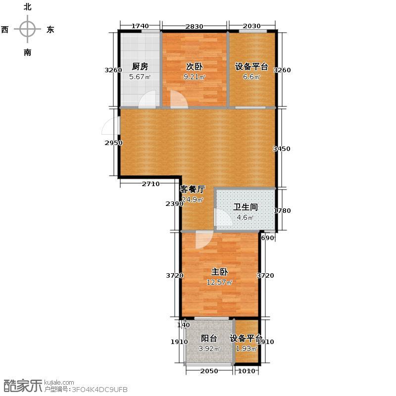 桂花星城85.00㎡一期1号楼奇数层户型2室1厅1卫1厨