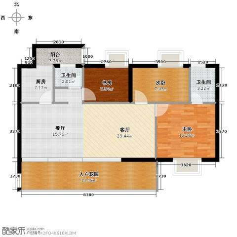 花果园3室1厅2卫1厨133.00㎡户型图
