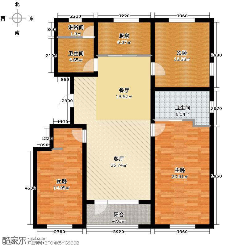 朗诗国际街区141.00㎡1#B户型3室1厅2卫1厨