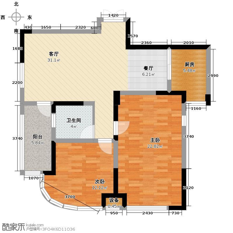 绿城百合公寓93.52㎡109m2户型2室1厅1卫1厨