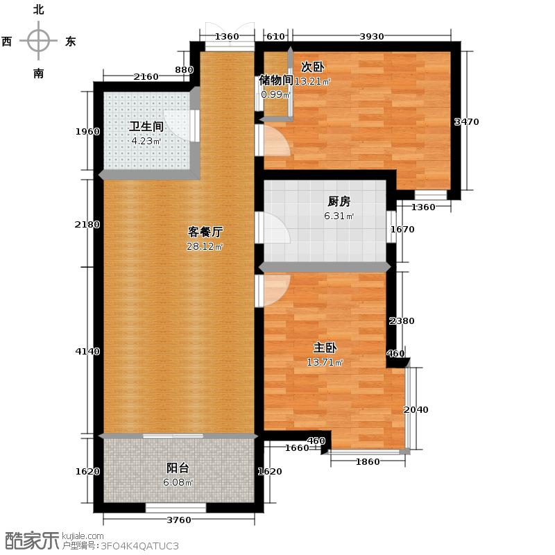 银滩雅苑101.26㎡B户型2室1厅1卫1厨
