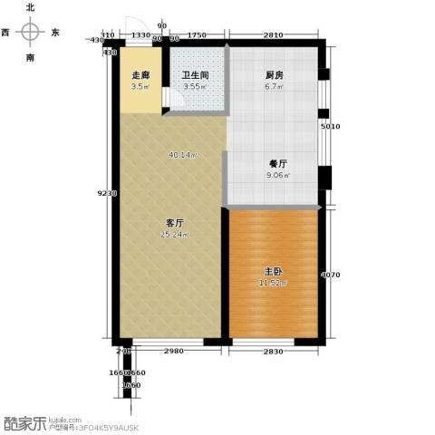 亚泰梧桐公馆1室0厅1卫0厨74.00㎡户型图