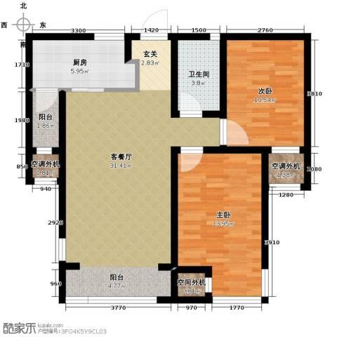 中海紫御华府2室2厅1卫0厨98.00㎡户型图