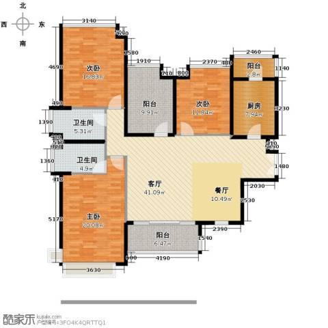 南城都汇御天下3室1厅2卫1厨144.00㎡户型图