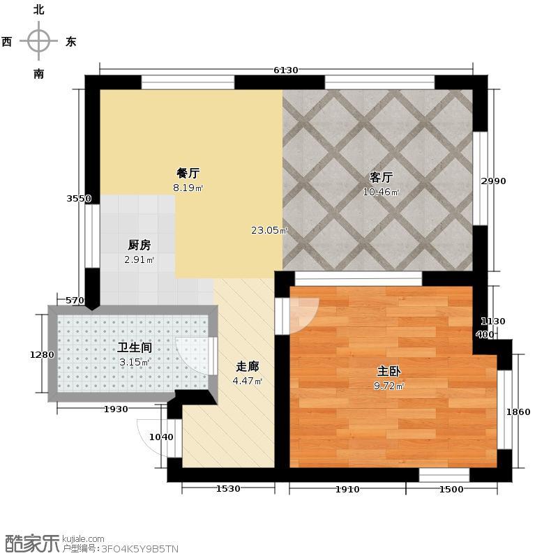 亚泰梧桐公馆68.00㎡1#楼01户型1室1卫