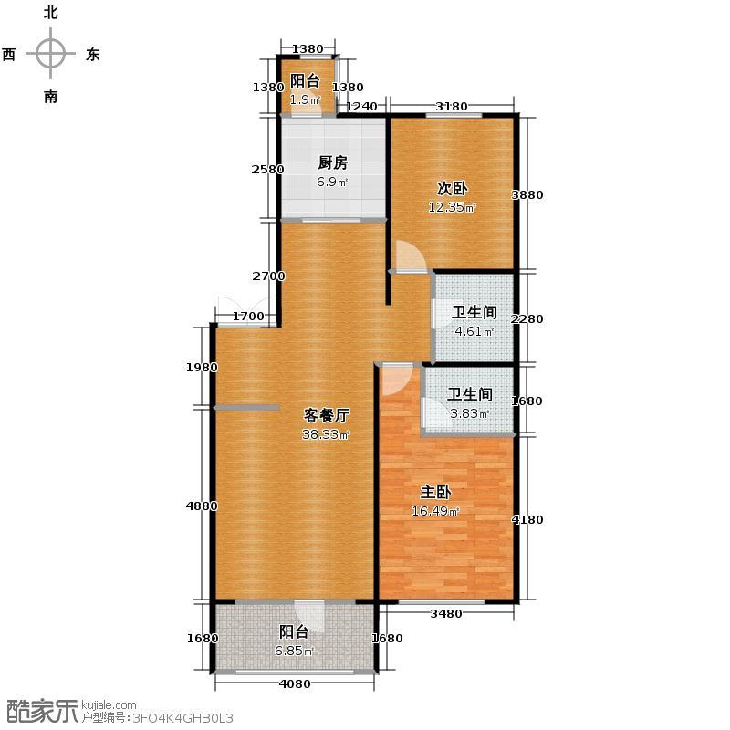群力玫瑰湾79.38㎡D10户型2室1厅2卫1厨