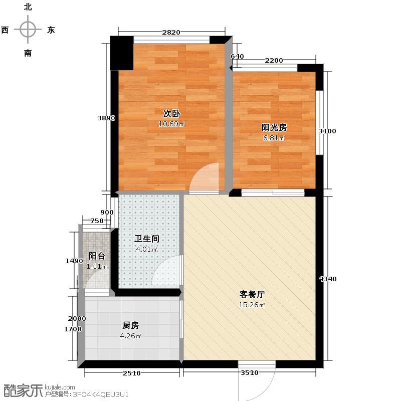 欧洲印象51.67㎡一期一批次5号楼A户型1室1厅1卫1厨