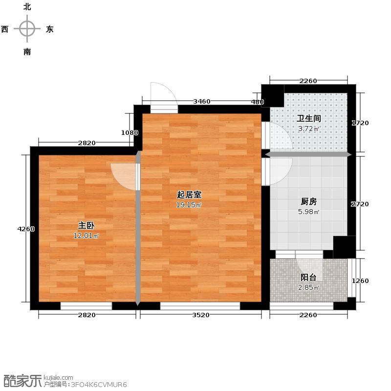 珠江帝景42.12㎡B户型1室1卫1厨