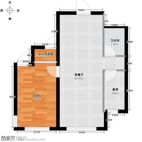嘉柏湾1室1厅1卫1厨67.00㎡户型图