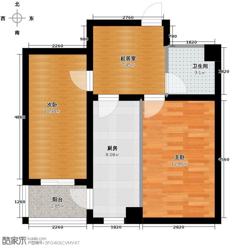 珠江帝景44.48㎡C户型2室1卫1厨