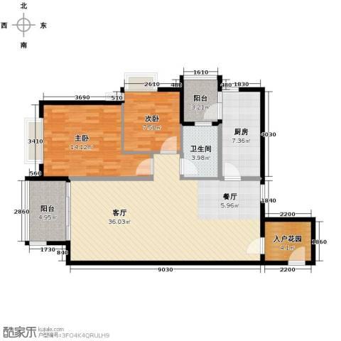 南城都汇御天下2室1厅1卫1厨90.00㎡户型图