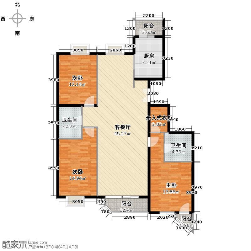 世纪东方城126.59㎡2区3#2单元A户型3室1厅2卫1厨