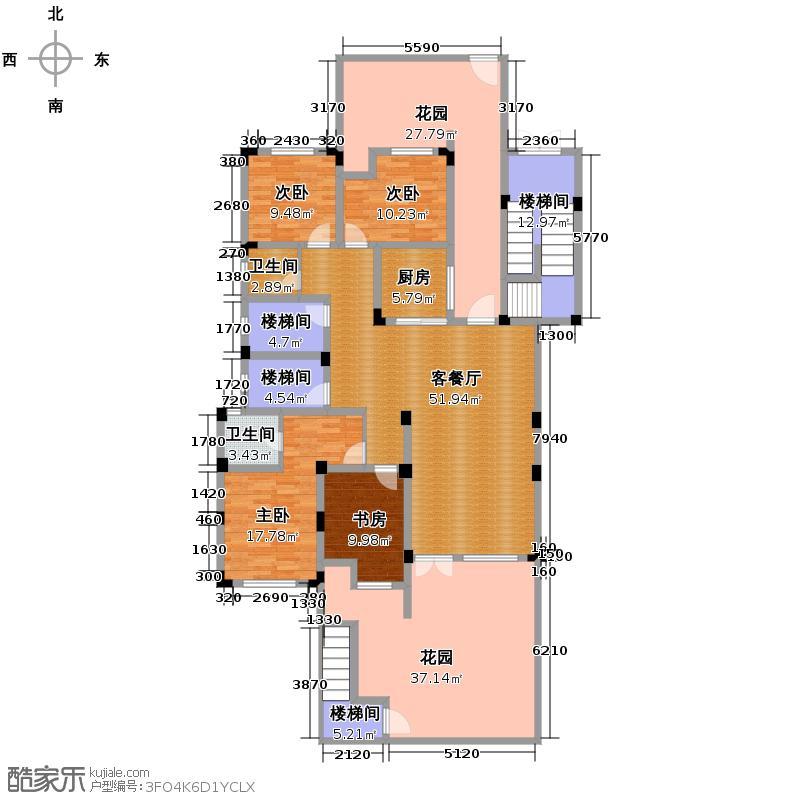 皇马花园233.04㎡H1面积约23436/23603/户型4室1厅2卫1厨