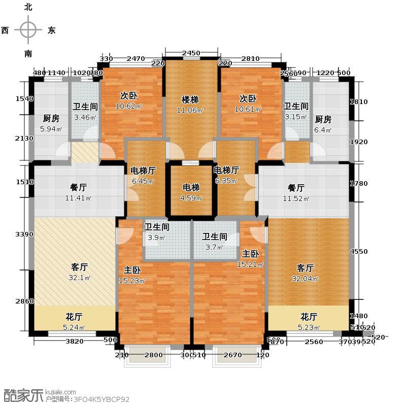 西湖一号95.74㎡F户型2室4厅2卫