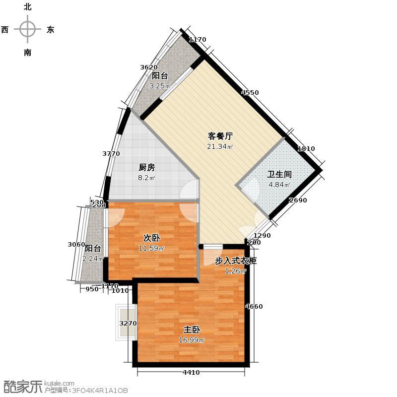 世纪东方城76.11㎡2区1#4单元N户型2室1厅1卫1厨