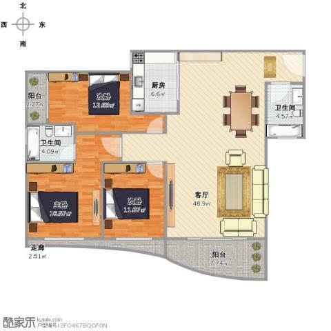 假日香港广场3室1厅2卫1厨157.00㎡户型图