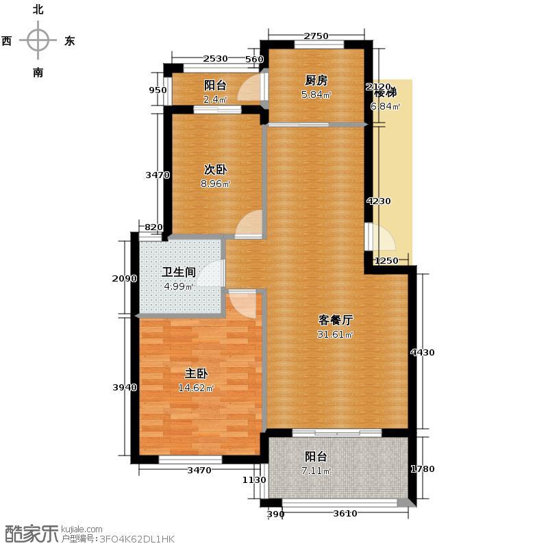东冠逸家86.00㎡户型2室1厅1卫1厨