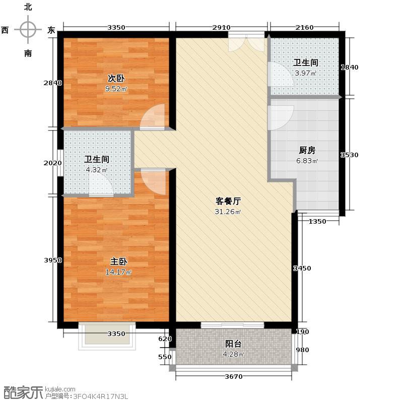 世纪东方城110.14㎡11号楼B(2居)户型2室1厅2卫1厨