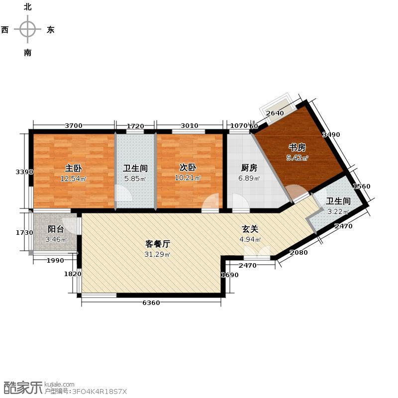 世纪东方城114.76㎡11号楼1单元C户型3室1厅2卫1厨
