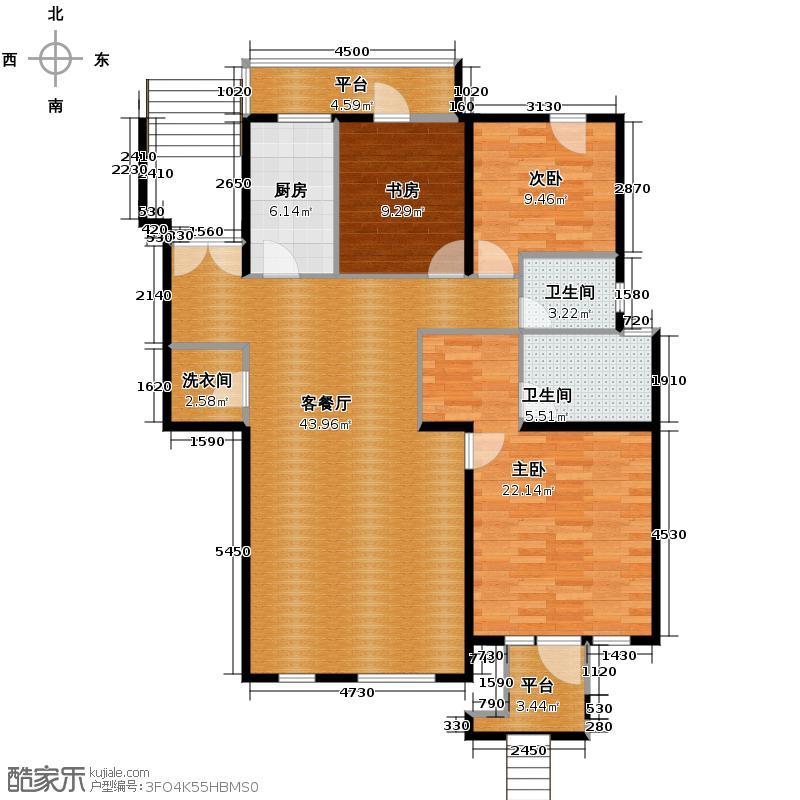 领秀新硅谷120.00㎡10#1F户型3室1厅2卫1厨