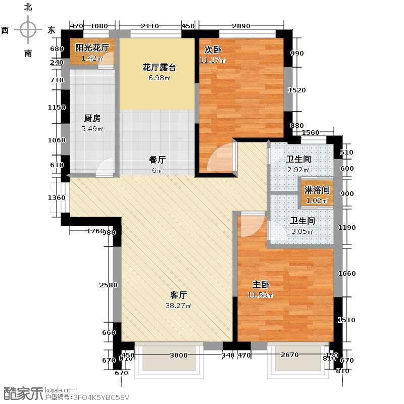 西湖一号108.31㎡C户型2室3厅2卫