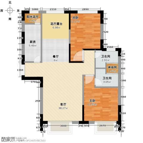 西湖一号2室3厅2卫0厨108.00㎡户型图